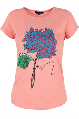 Дамска тениска WOOD ябълков цвят