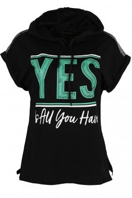 Дамска тениска с качулка YES черна