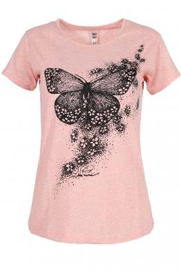 Дамска тениска BUTTERFLY розов меланж