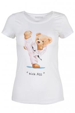 Дамска тениска KICK ASS бяла