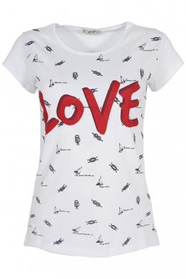 Дамска тениска LOVE бяла