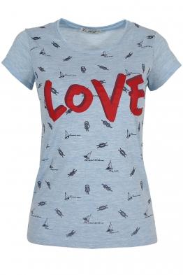 Дамска тениска LOVE синя