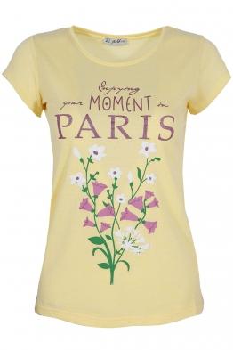 Дамска тениска PARIS жълта