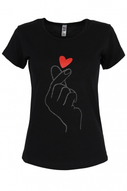 Дамска тениска RED HEART черна