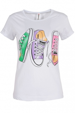 Дамска тениска SNEAKERS бяла