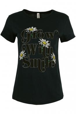 Дамска тениска WITH SMILE черна