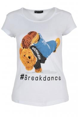 Дамска тениска BREAKDANCE бяла