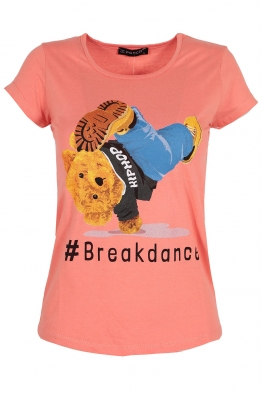 Дамска тениска BREAKDANCE корал