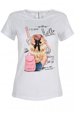 Дамска тениска HELLO бяла