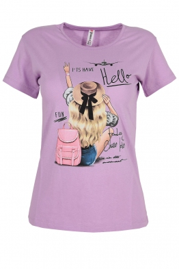 Дамска тениска HELLO лилава