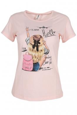 Дамска тениска HELLO розова