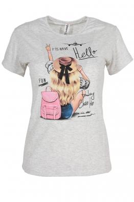 Дамска тениска HELLO сива