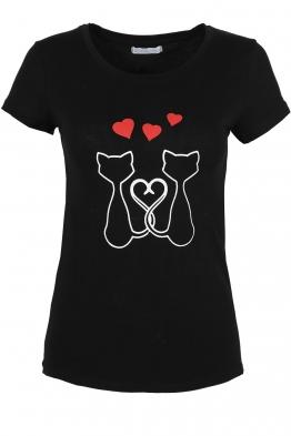 Дамска тениска KITTY LOVE черна