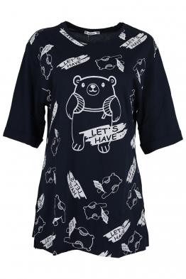 Дамска тениска LETS HAVE тъмно синя