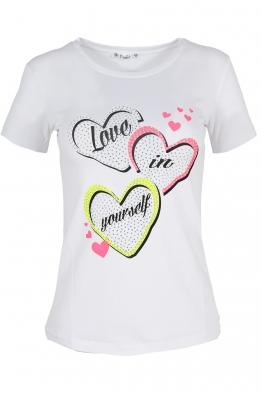 Дамска тениска LOVE NEON бяла