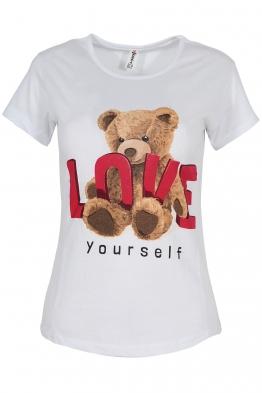 Дамска тениска LOVE YOURSELF бяла