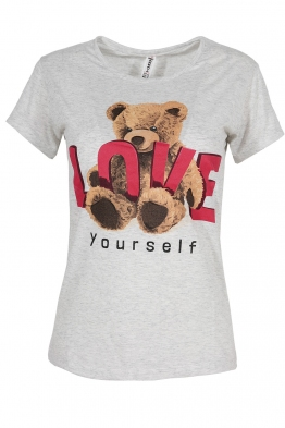 Дамска тениска LOVE YOURSELF светло сива