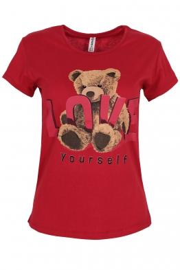 Дамска тениска LOVE YOURSELF червена