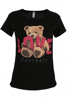 Дамска тениска LOVE YOURSELF черна