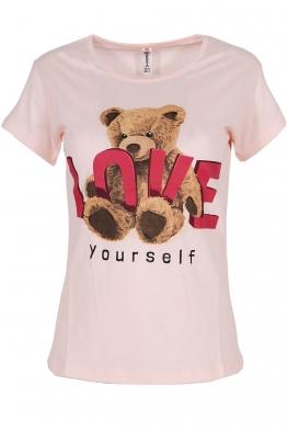 Дамска тениска LOVE YOURSELF ябълков цвят