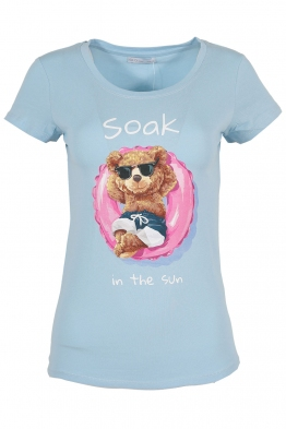 Дамска тениска SOAK IN THE SUN синя