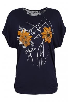 Дамска тениска 21653 тъмно синя