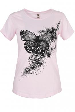 Дамска тениска BUTTERFLY розова
