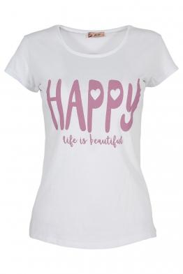 Дамска тениска HAPPY бяла