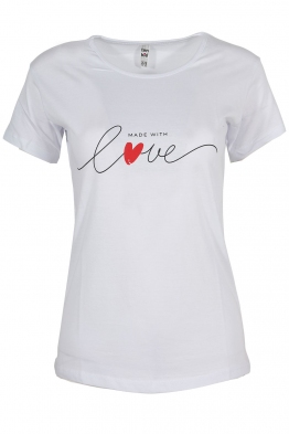 Дамска тениска MADE WITH LOVE бяла