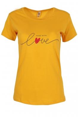 Дамска тениска MADE WITH LOVE жълта