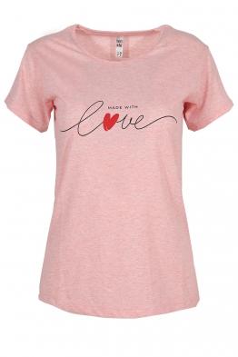 Дамска тениска MADE WITH LOVE розов меланж