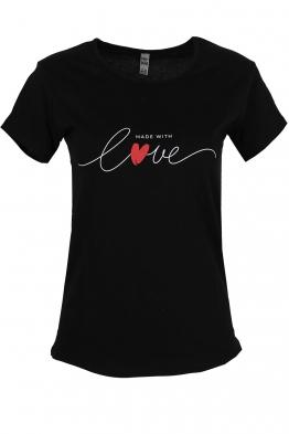 Дамска тениска MADE WITH LOVE черна