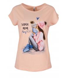 Дамска блуза SUPER MOM пудра