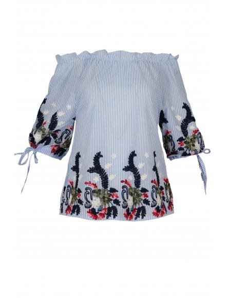 Дамска блуза 6631 синьо райе