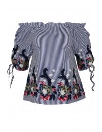 Дамска блуза 6631 тъмно синьо райе