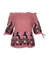 Дамска блуза 6631 червено райе