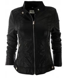 Дамско кожено яке 2117 черно