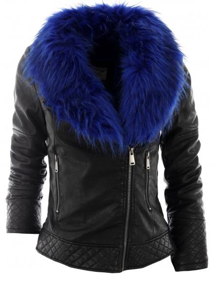 Дамско яке 6905 - 2 с кралско синя кожа