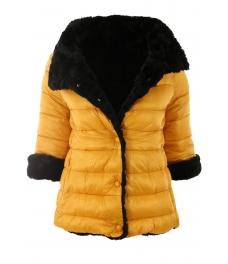 Дамско зимно яке с две лица Е26527 жълто