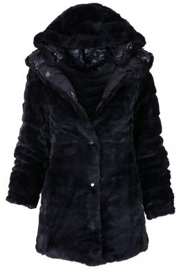 Дамско зимно яке с две лица 18100 тъмно синьо