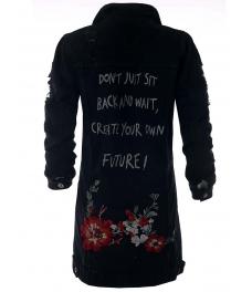 Дънково яке с цветя 611 черно