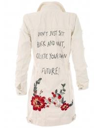 Дънково яке с цветя 611 екрю