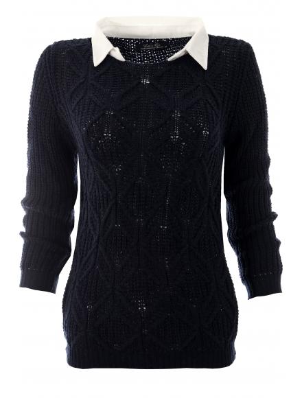 Дамски пуловер с яка Вижън тъмно син