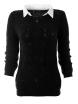 Дамски пуловер с яка Вижън черен