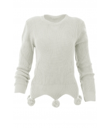 Дамски пуловер 442 с помпони бял
