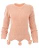 Дамски пуловер 442 с помпони розов