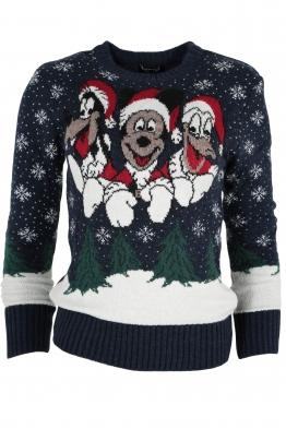 Дамски пуловер Christmas А-10 тъмно син