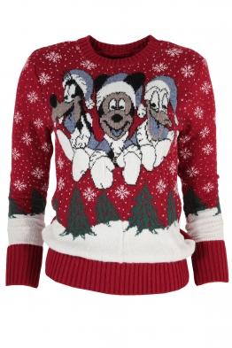 Дамски пуловер Christmas А-10 червен