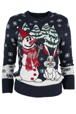 Дамски пуловер Christmas А-11 тъмно син