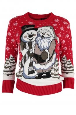 Дамски пуловер Christmas А-12 червен